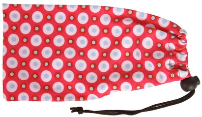 Angle of Printed Glasses Pouch #255 in Pink Bubble Dot Print, Women's and Men's