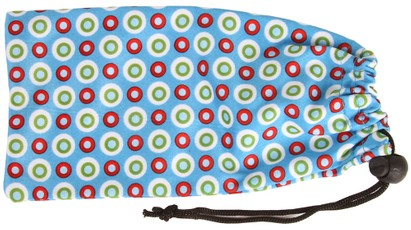 Angle of Printed Glasses Pouch #255 in Blue Bubble Dot Print, Women's and Men's