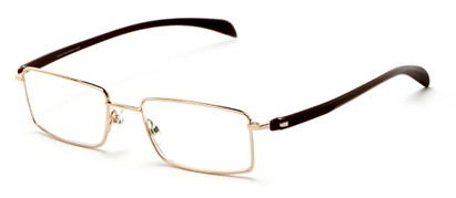 Angle of The Cabot Computer Reader in Gold/Brown, Women's and Men's Rectangle Reading Glasses