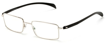 Angle of The Cabot Computer Reader in Silver/Black, Women's and Men's Rectangle Reading Glasses