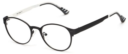 Angle of The Canterbury Customizable Reader in Black, Women's and Men's Round Reading Glasses