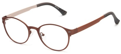 Angle of The Canterbury Customizable Reader in Brown, Women's and Men's Round Reading Glasses