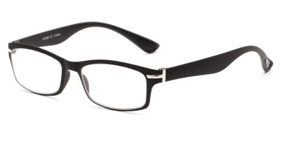 Angle of The Carnation Flexible Reader in Black, Women's and Men's Rectangle Reading Glasses