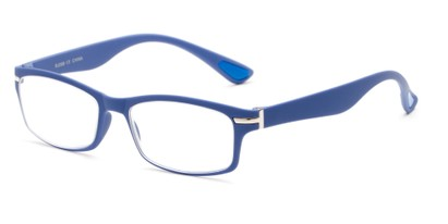 Angle of The Carnation Flexible Reader in Blue, Women's and Men's Rectangle Reading Glasses