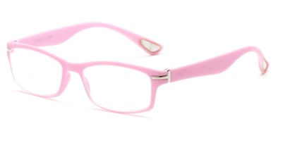 Angle of The Carnation Flexible Reader in Pink, Women's and Men's Rectangle Reading Glasses