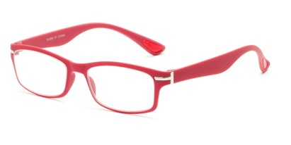 Angle of The Carnation Flexible Reader in Berry Red, Women's and Men's Rectangle Reading Glasses