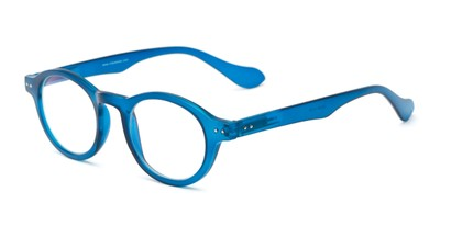 Angle of The Channing Blended Bifocal Computer Reader in Arctic Blue, Women's and Men's Round Reading Glasses