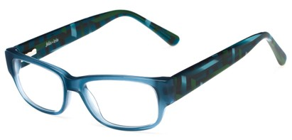 Angle of Chelsea by felix + iris in Denim Blue Geo, Women's Retro Square Reading Glasses