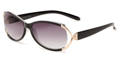 Angle of The Claire Reading Sunglasses in Black/Gold with Smoke, Women's Oval Reading Sunglasses