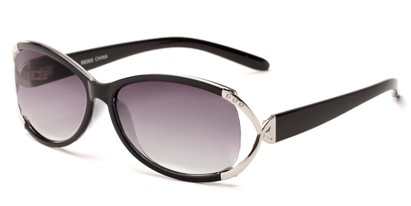 Angle of The Claire Reading Sunglasses in Black/Silver with Smoke, Women's Oval Reading Sunglasses