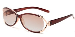 Angle of The Claire Reading Sunglasses in Brown/Gold with Amber, Women's Oval Reading Sunglasses