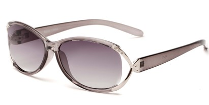 Angle of The Claire Reading Sunglasses in Grey/Silver with Smoke, Women's Oval Reading Sunglasses