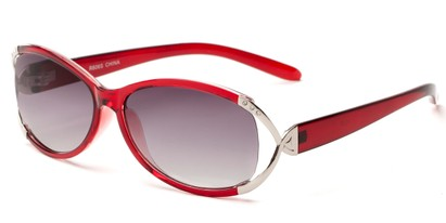Angle of The Claire Reading Sunglasses in Red/Silver with Smoke, Women's Oval Reading Sunglasses