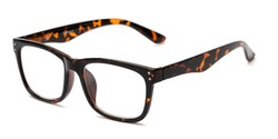 Angle of The Claude Photochromic Reader in Tortoise with Amber, Women's and Men's Retro Square Reading Sunglasses