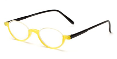 Angle of The Clover in Yellow/Black, Women's and Men's Round Reading Glasses