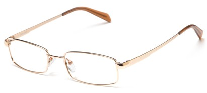 Angle of The Cumberland Customizable Reader in Gold, Women's and Men's Rectangle Reading Glasses