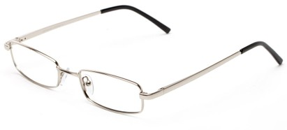 Angle of The Canal Customizable Reader in Silver, Women's and Men's Retro Square Reading Glasses