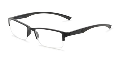 Angle of The Oswald in Black/Grey, Men's Rectangle Reading Glasses