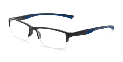 Angle of The Oswald in Black/Blue, Men's Rectangle Reading Glasses