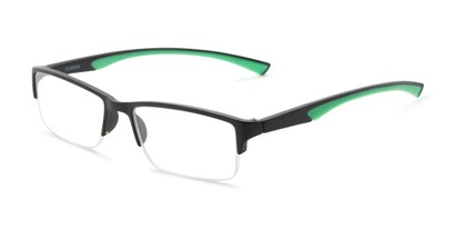 Angle of The Oswald in Black/Green, Men's Rectangle Reading Glasses