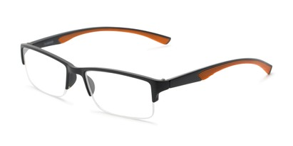 Angle of The Oswald in Black/Orange, Men's Rectangle Reading Glasses