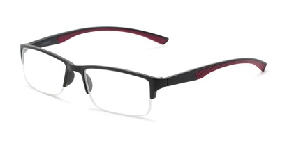 Angle of The Oswald in Black/Red, Men's Rectangle Reading Glasses