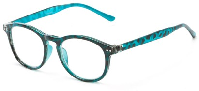 Angle of The Holden in Blue Tortoise, Women's and Men's Round Reading Glasses