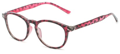 Angle of The Holden in Pink Tortoise, Women's and Men's Round Reading Glasses
