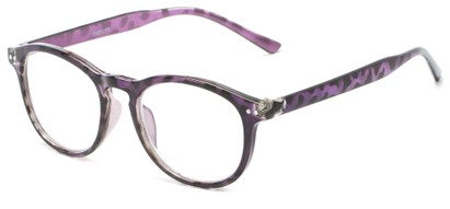 Angle of The Holden in Purple Tortoise, Women's and Men's Round Reading Glasses