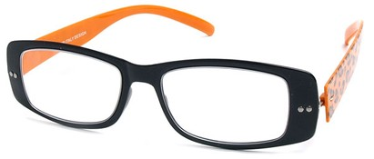 Angle of The Rio Flexible Reader in Black and Orange Leopard, Women's and Men's