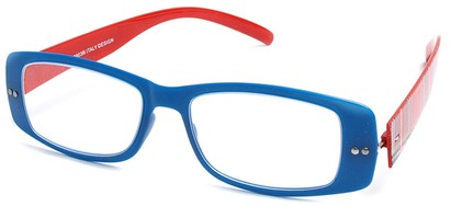Angle of The Rio Flexible Reader in Blue and Red Plaid, Women's and Men's