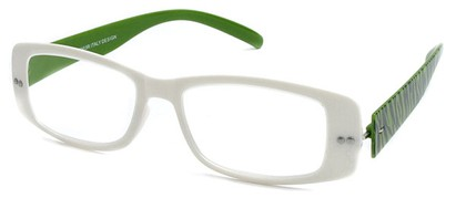 Angle of The Rio Flexible Reader in White and Green Zebra, Women's and Men's