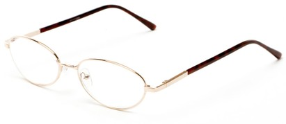 Angle of The Arlington in Gold, Women's and Men's Oval Reading Glasses