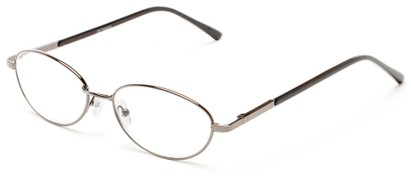 Angle of The Arlington in Grey, Women's and Men's Oval Reading Glasses