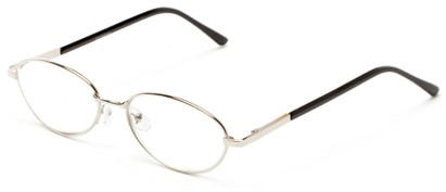 Angle of The Arlington in Silver, Women's and Men's Oval Reading Glasses