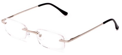 Angle of The Atticus in Silver, Women's and Men's Rectangle Reading Glasses