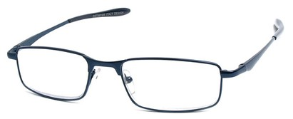 Angle of The Fairfax in Dark Blue, Women's and Men's Rectangle Reading Glasses