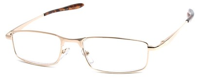 Angle of The Fairfax in Gold, Women's and Men's Rectangle Reading Glasses