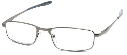 Angle of The Fairfax in Glossy Grey, Women's and Men's Rectangle Reading Glasses