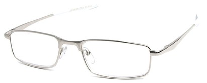 Angle of The Fairfax in Silver/White, Women's and Men's Rectangle Reading Glasses
