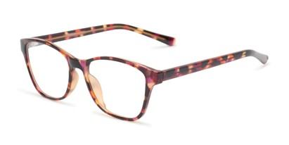 Angle of The Esme Customizable Reader in Pink Tortoise, Women's Cat Eye Reading Glasses