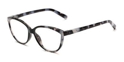 Angle of The Dorothy in Black Marble, Women's Cat Eye Reading Glasses