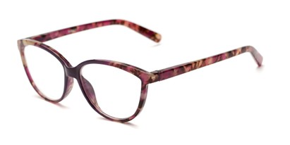 Angle of The Dorothy in Purple Marble, Women's Cat Eye Reading Glasses