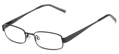 Angle of The Downey Customizable Reader in Matte Black, Women's and Men's Rectangle Reading Glasses