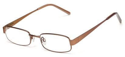 Angle of The Downey Customizable Reader in Matte Brown, Women's and Men's Rectangle Reading Glasses
