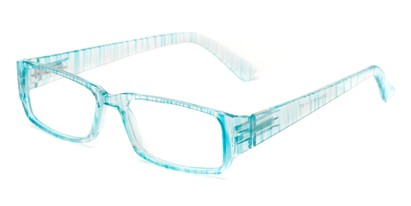 Angle of The Drexel in Blue Stripe, Women's and Men's Rectangle Reading Glasses