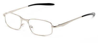 Angle of The Fairfax in Silver/Black, Women's and Men's Rectangle Reading Glasses