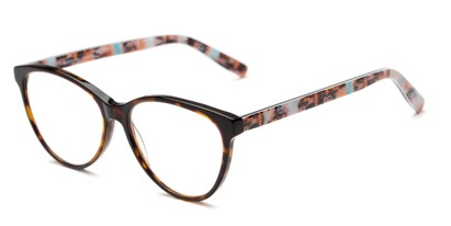 Angle of The Eden Signature Reader in Brown/Pink Tortoise, Women's Cat Eye Reading Glasses