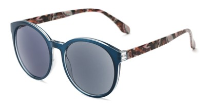 Angle of The Eileen Reading Sunglasses in Blue/Paisley with Smoke, Women's Round Reading Sunglasses