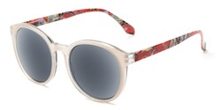 Angle of The Eileen Reading Sunglasses in Grey/Paisley with Smoke, Women's Round Reading Sunglasses